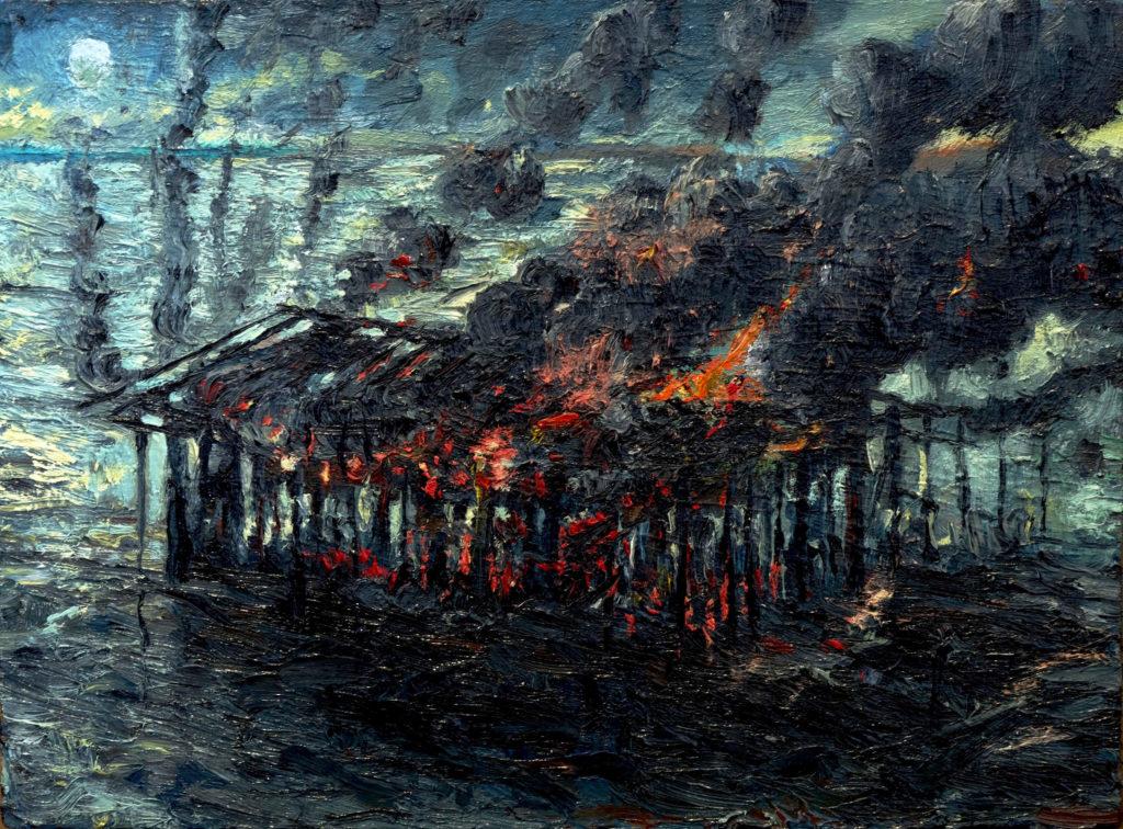BurningShed oil on plywood 40 x 30 cm 2017